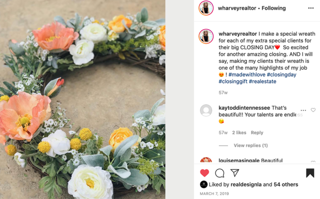 "Whitney makes a different ""closing wreath"" for each client"