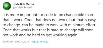 Uncle bob tweet on code refactoring
