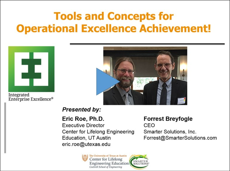 operational excellence achievement Eric Roe and Forrest Breyfogle Webinar
