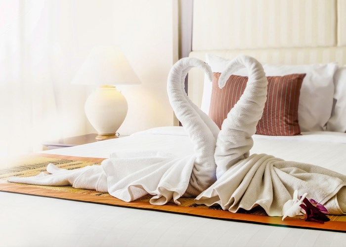 hotel bed with a swan towel