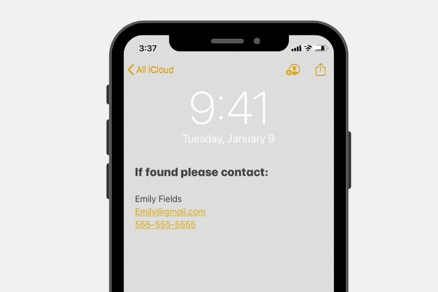 lock screen shows emergency contact