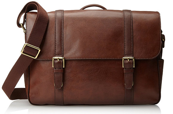 Men's Estate Saffiano Leather EW Messenger Bag from Fossil