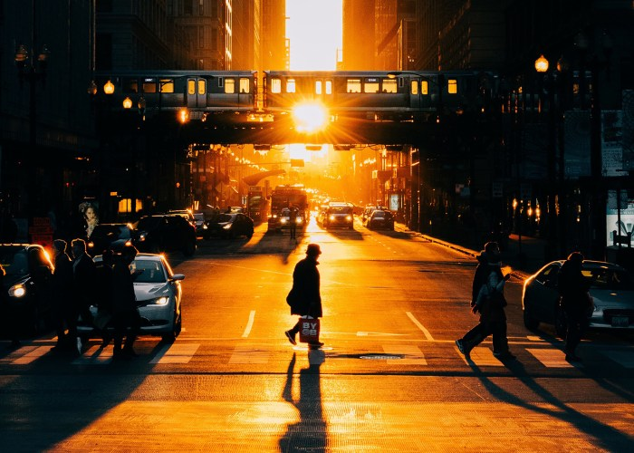 people crossing chicago street at sunset.