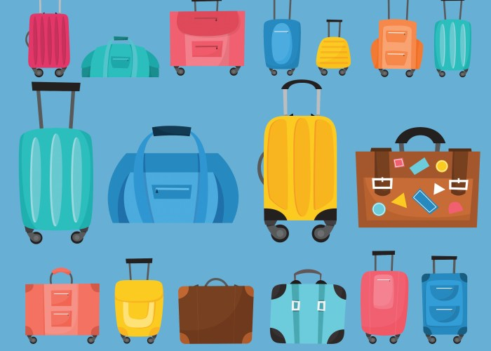 graphic art of different sizes suitcases and personal items