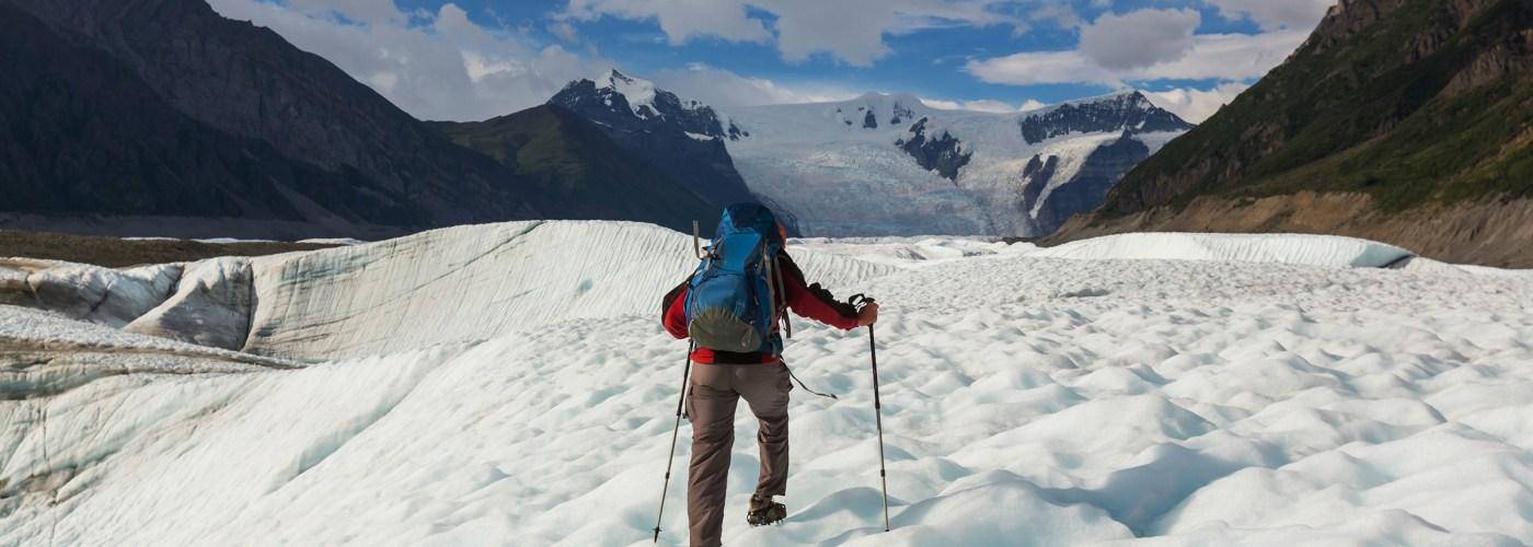 hiker in wrangell elias national park