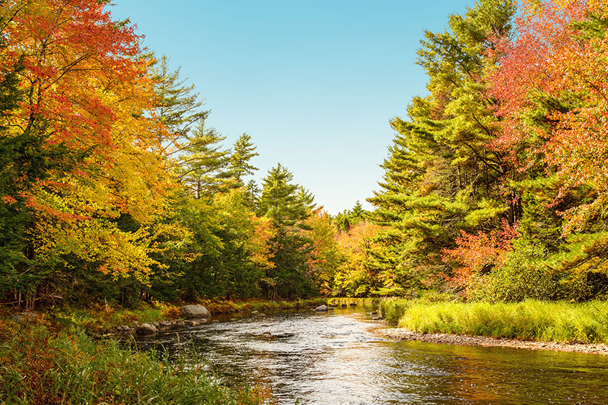 nova scotia lake in fall.