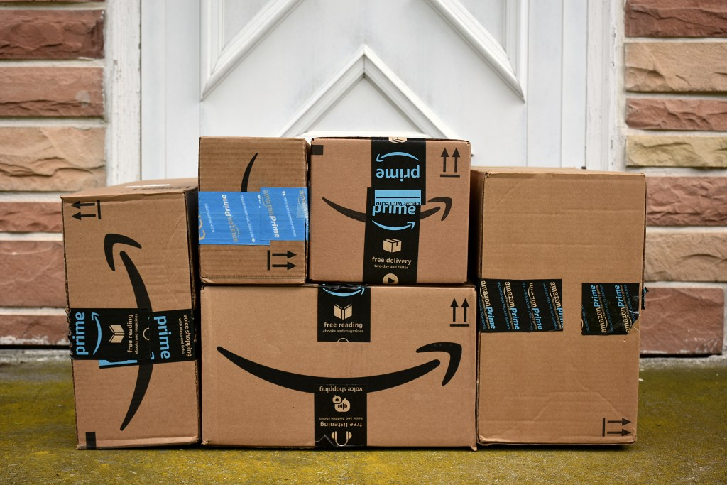 amazon prime boxes at front door