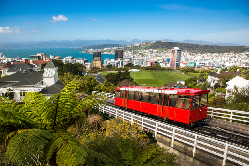 Wellington cable car in New Zealand.
