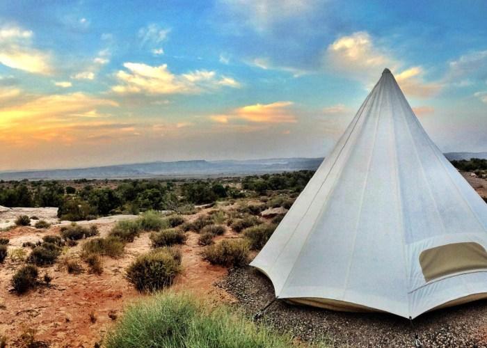 desert teepee camping outside moab utah