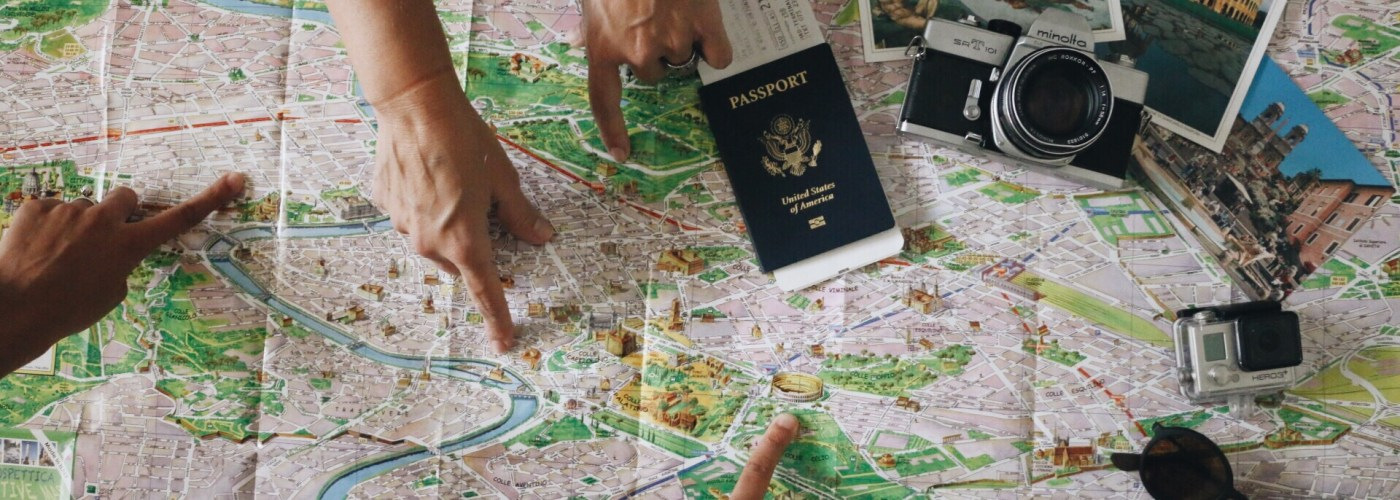 map people planning trip