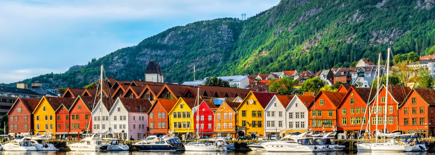 View of historical buildings on a wharf in Bergen, Norway