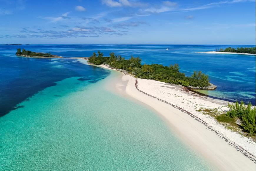 Aerial view Munjac Cay Abaco Bahamas.