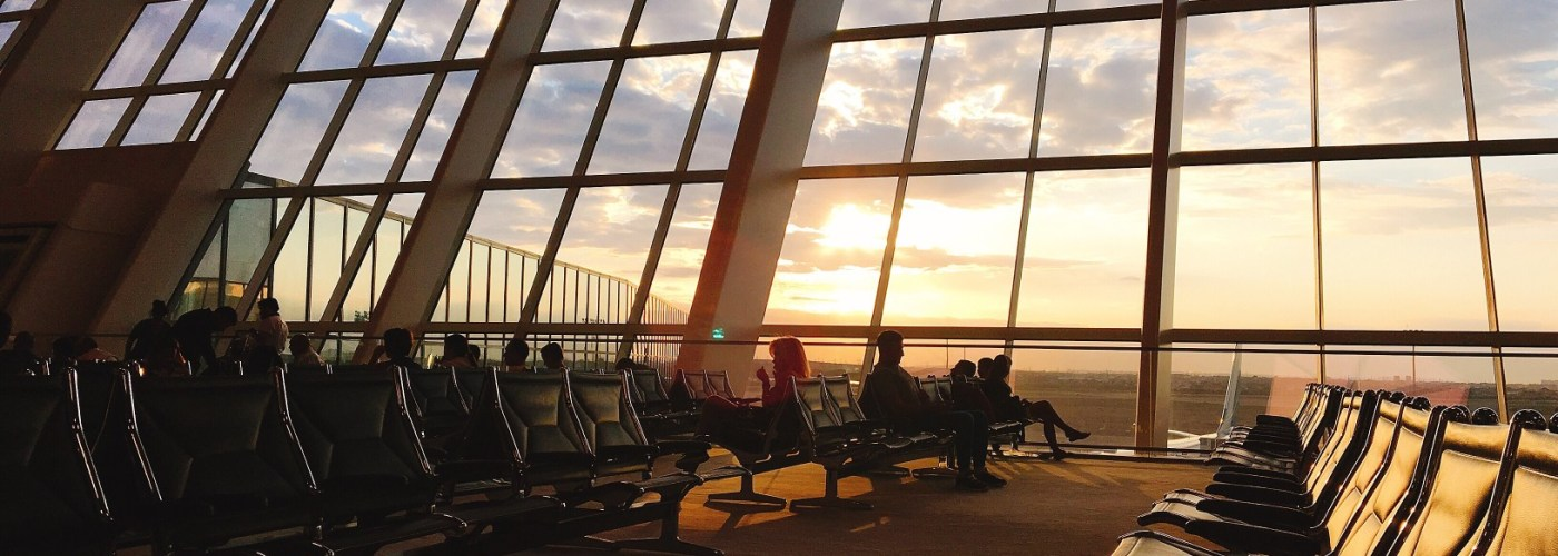 airport terminal at sunset