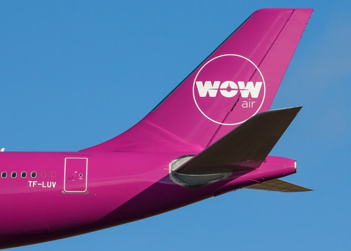 Tail of a WOW Air plane