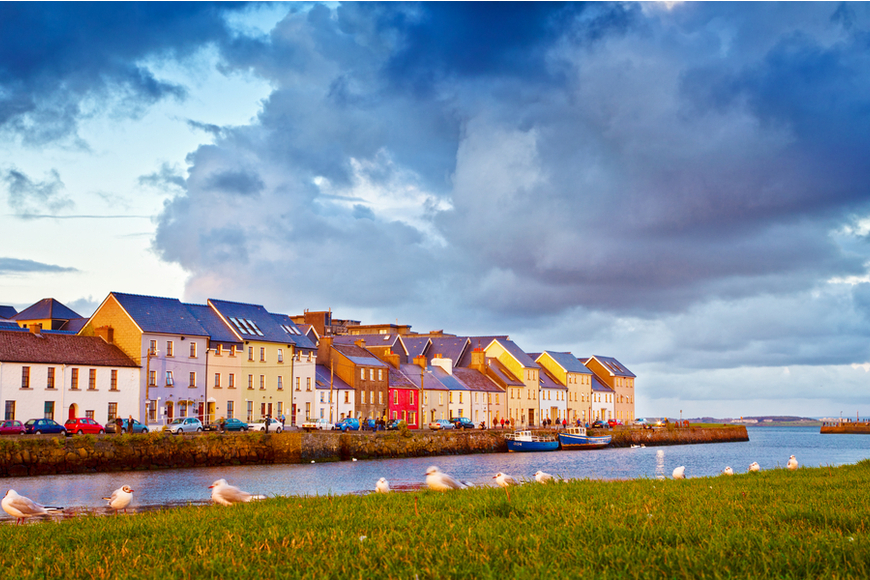galway ireland sunset colorful houses.