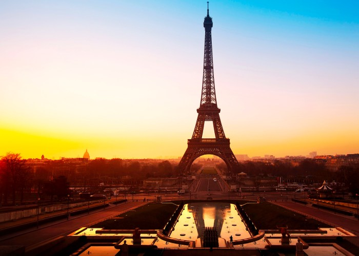 beautiful sunrise over Eiffel tower