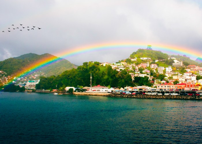 rainbow is seen over Saint George's town, capital of Grenada island, Caribbean region of Lesser Antilles