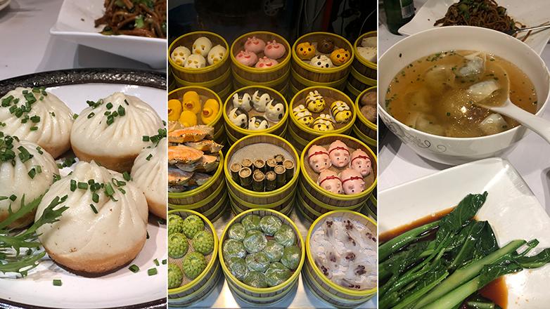 Sheng xian bao and other dumplings shaped like animals at tianzifang market in shanghai, china.