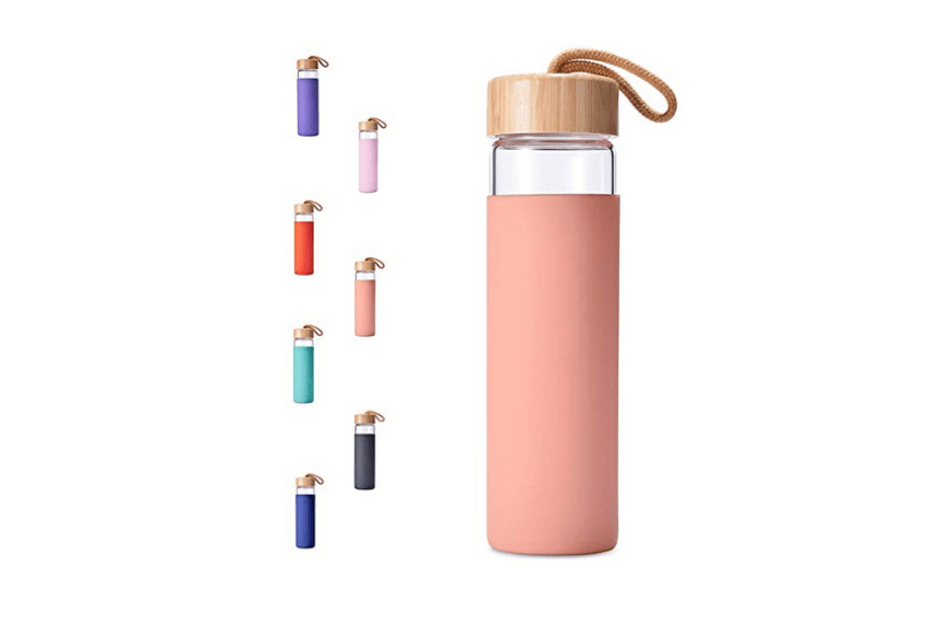 glass water bottle in colors