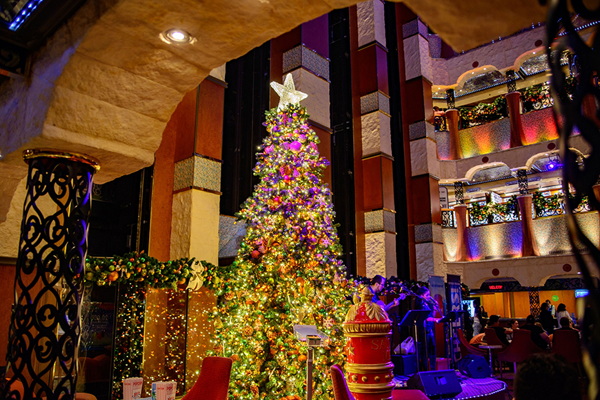 holiday decorations on carnival cruise ship.