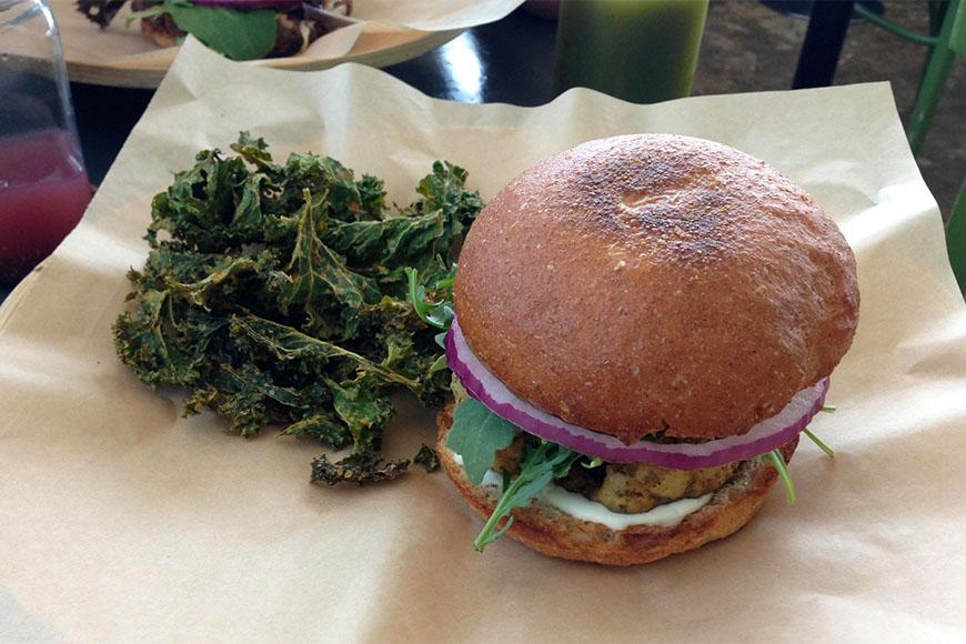 burger and kale at green seed vegan houston.