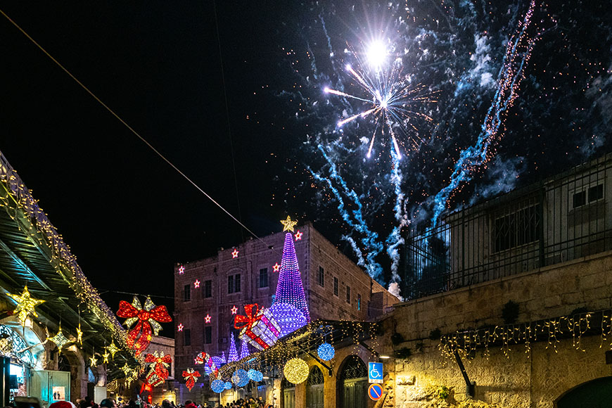 fireworks and holiday decorations in jerusalem.