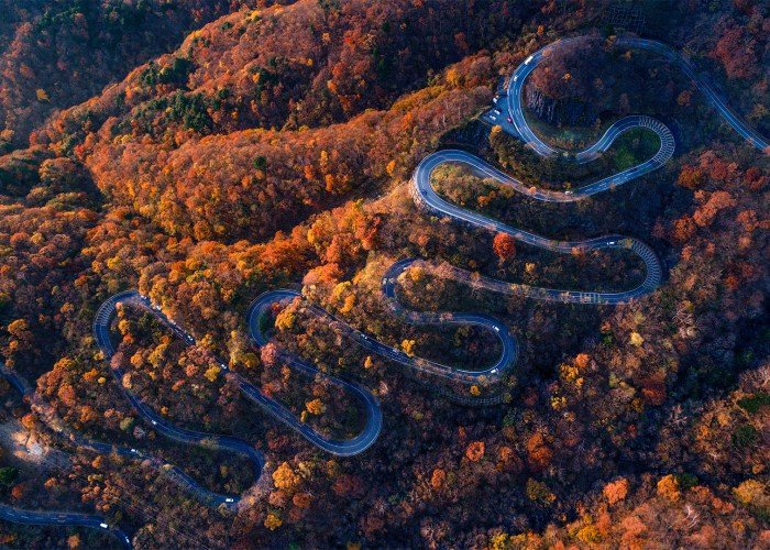 Irohazaka Winding Road in Nikko, Japan, fall foliage.
