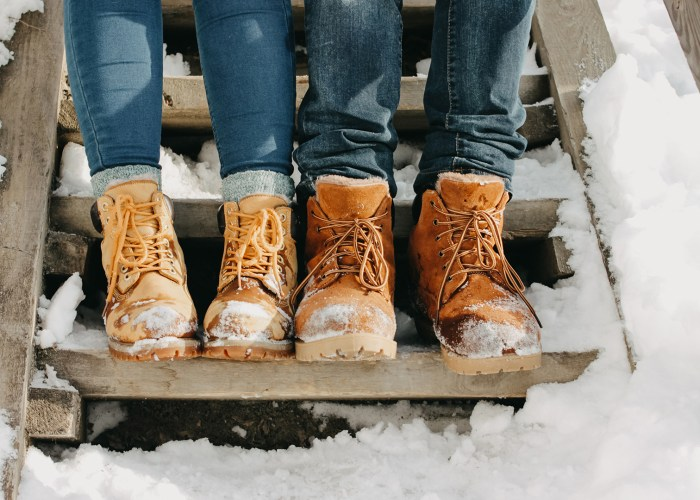 winter boots couple on snowy steps.