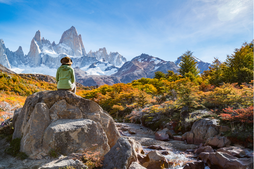 trekker at Fitz Roy, Patagonia Argentina.