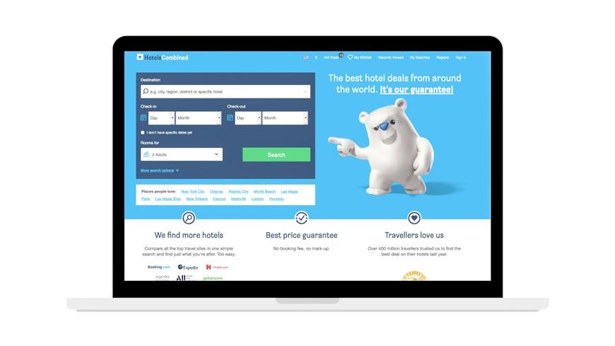 Hotelscombined.com screenshot for booking hotels