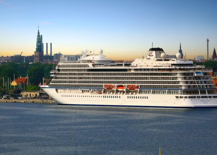 viking ocean cruise ship in port city
