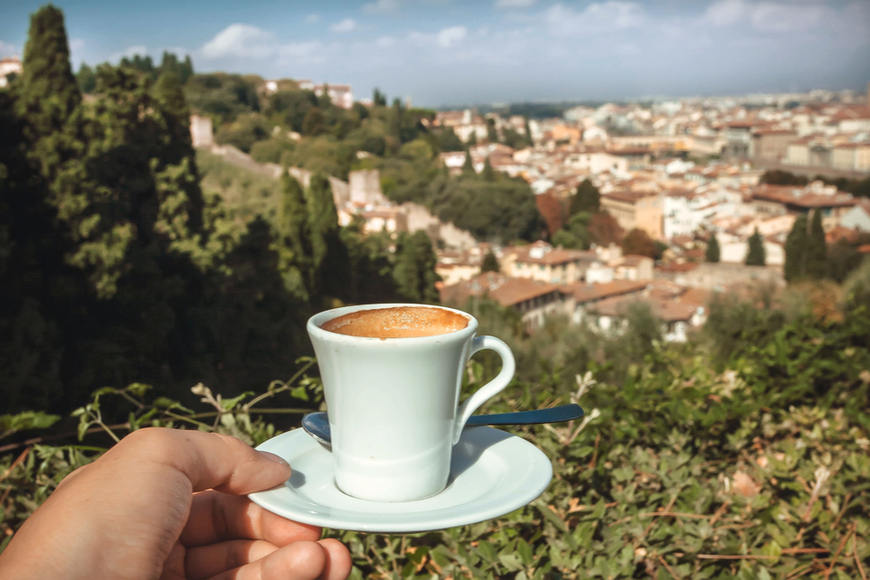 coffee cup overlooking florence.
