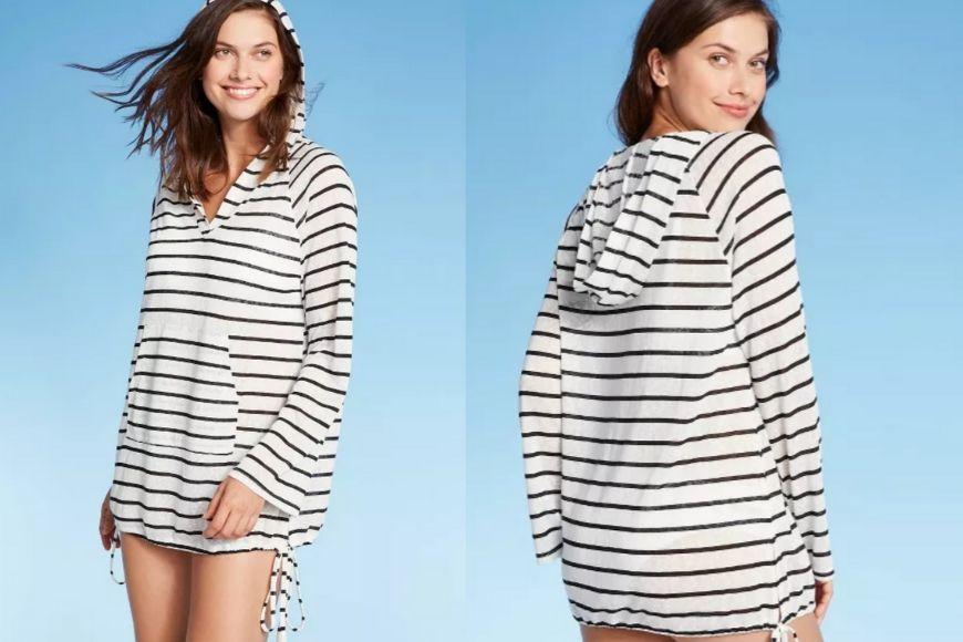 Kona Sol Striped Knit Beach Cover-up Hoodie.