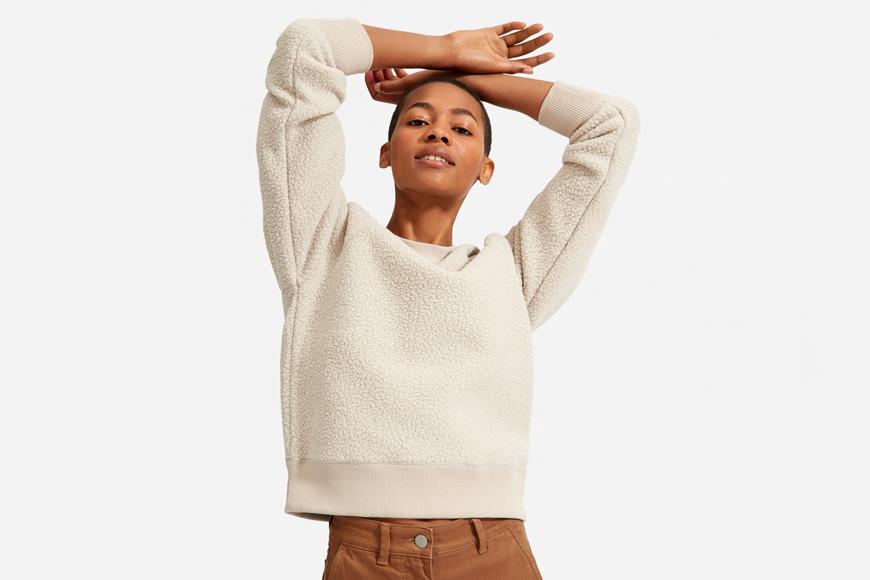Everlane The ReNew Fleece Raglan Sweatshirt.