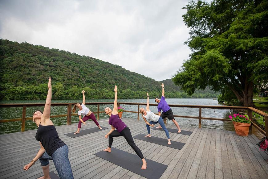 yoga class at lake austin spa resort.