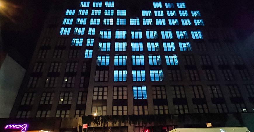 moxy east village lights hotel rooms blue in heart SHape