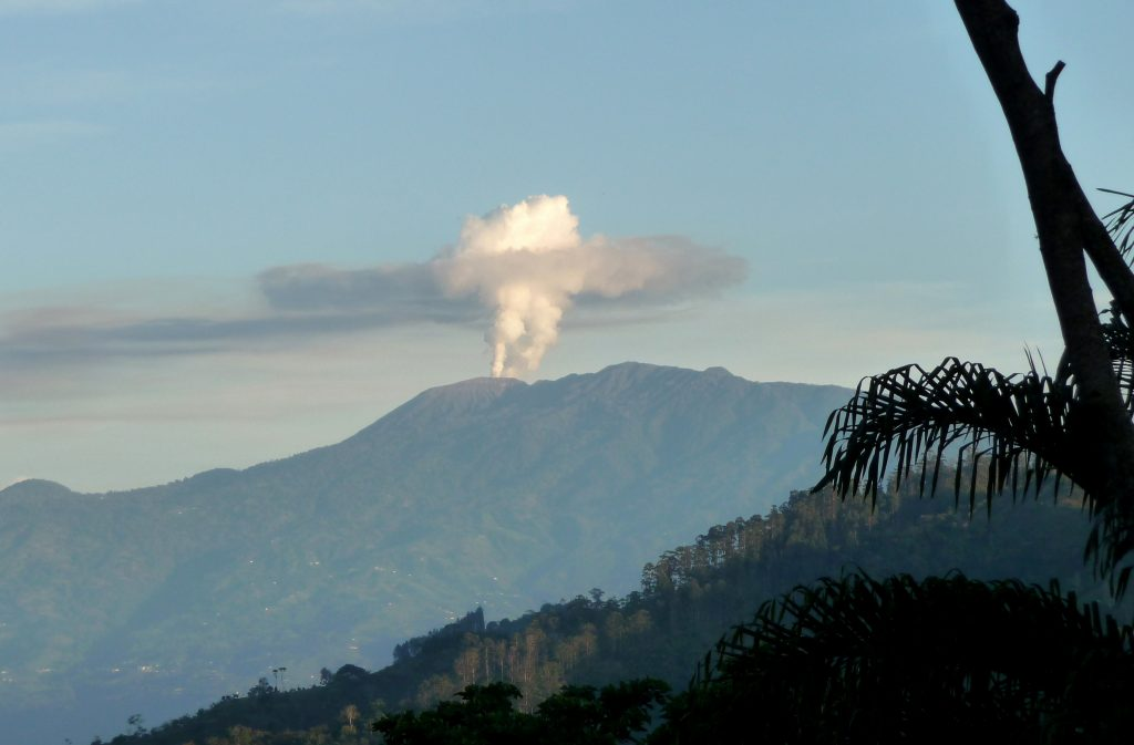 wide view of volcanic eruption