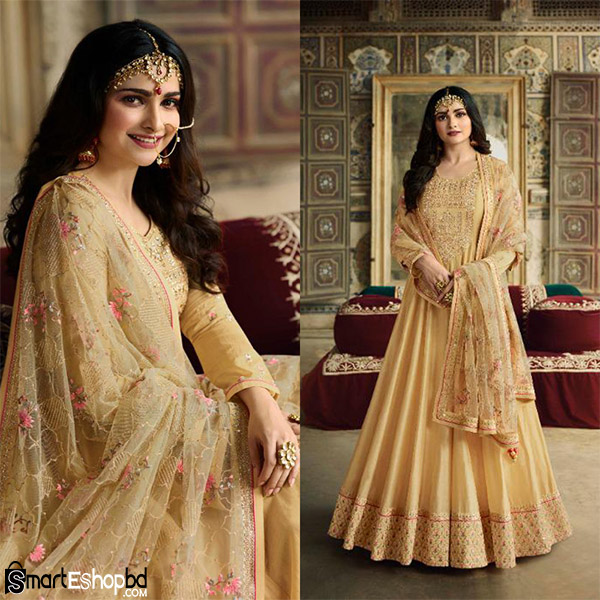 anarkali suit with Net dupatta