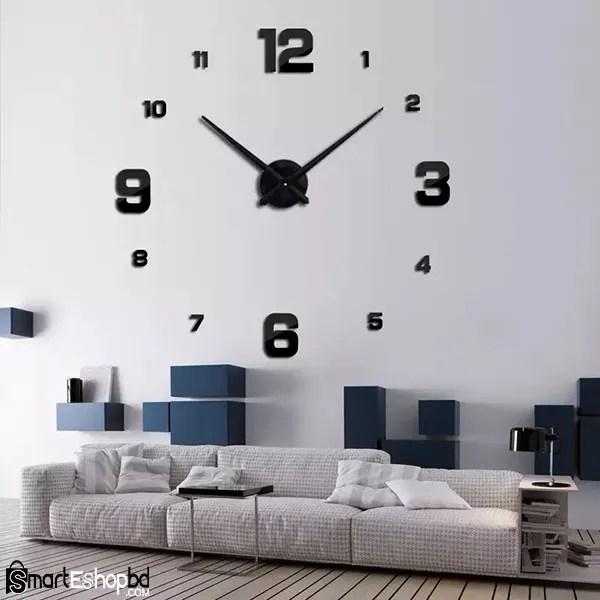 Large Quartz Wall Clock DIY Modern Design 3D Wall Sticker Watch Acrylic Mirror Mechanism Stickers Home Living Room Decoration