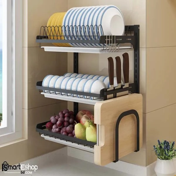 Wall Mounted 3 layer Dish Drying Rack with spoon and knife holder