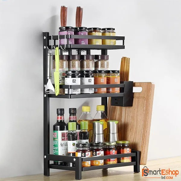 3 Tier Spice Rack Freestanding Organizer Shelf for Kitchen Countertop Cabinet Pantry Bathroom Office Storage, Organization for Spice Can Sauce Jars Bottle