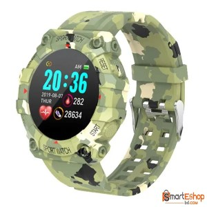 Bakeey FD68 Heart Rate Monitor Custom Dial Music Control Weather Display Fashion Sport Style Design Smart Watch Army Color