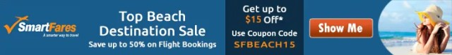 Beach Destinations Sale at never before fares. Get Flat $15 Off using Coupon Code SFBEACH15.