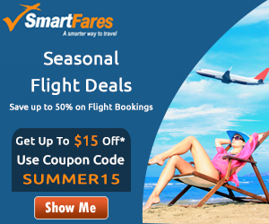 Seasonal Flight Deals. Book with SmartFares® & Get Up To $15 Off - Use Coupon Code