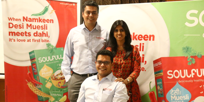 The Soufull founding team: Prashant Parameswaran (centre), CEO & MD; Amit Sebastian (left), COO; Rasika Iyer (right), CMO.