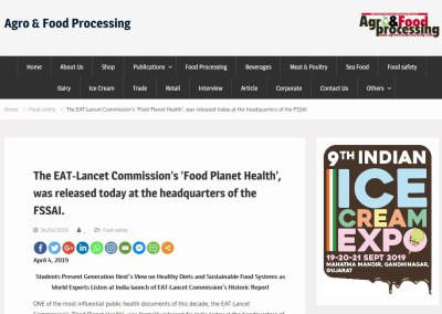 The EAT-Lancet Commission's 'Food Planet Health', was released today at the headquarters of the FSSAI.