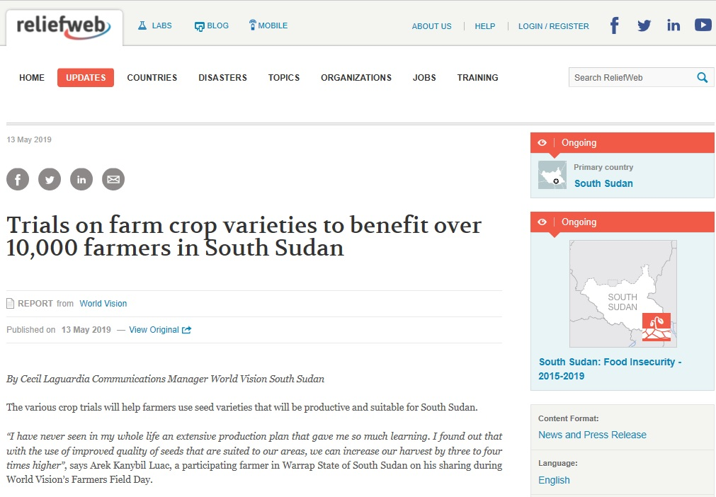Trials on farm crop varieties to benefit over 10,000 farmers in South Sudan