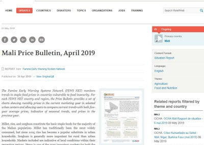 Mali Price Bulletin, April 2019