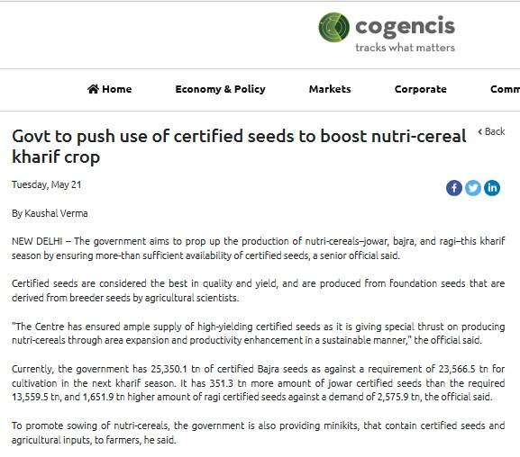 Govt to push use of certified seeds to boost nutri-cereal kharif crop
