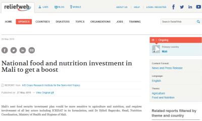 National food and nutrition investment in Mali to get a boost